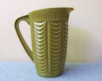 1970s Avocado Green Juice PItcher - Plastic Arnold Ware