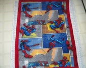Spiderman Double Fleece Crib Size Blanket - Red Fleece on the Back - Last One - Or Make it larger to a Throw size