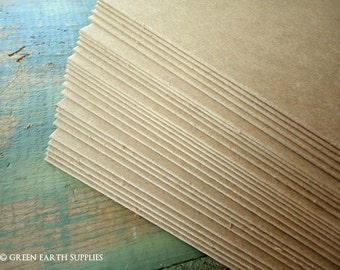"""25 thick 50pt chipboard sheets: 8.5 x 11 kraft brown chipboard recycled 8.5 x 11"""" (216x279mm), Heavy weight thick chipboard .050"""" (1 mm)"""