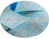 Ice Blue Glitter Damask ribbon 7/8 inch ribbon from our new Holiday Collection US designer ribbon