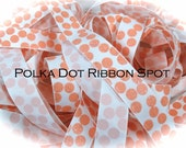 Glitter Grograin ribbon 5 yards- 7/8 inch White/Coral Silly dot grosgrain ribbon- US designer ribbon
