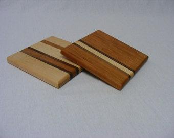 Signature Stripe Square Mini Cutting Board. Trivet.  Maple or Cherry.  Free Shipping
