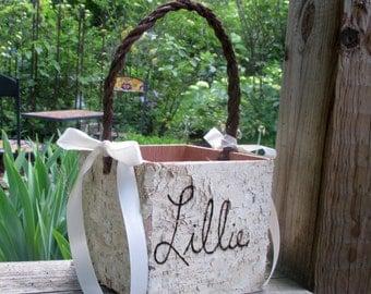 Personalized Rustic  Birch Flower Girl Basket Wedding Woodland Cottage Chic Wedding Decor