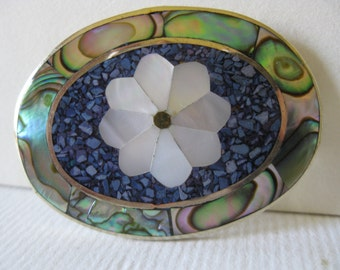 Vintage Oval Mother of Pearl and Shell Mexican Flower Brooch