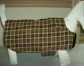 Small Dog Coat, Brown plaid, two-layer cotton, Velcro closure, Scotty Dog, HANDMADE