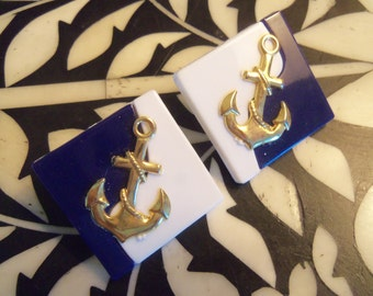 80s ANCHOR EARRINGS--Navy and White with Gold Anchors--Ahoy, Sailor!