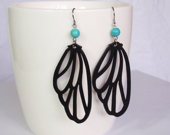 Turquoise and black butterfly wing earrings - surgical steel earrings, wooden lasercut earrings, stainless steel earwires nickel free