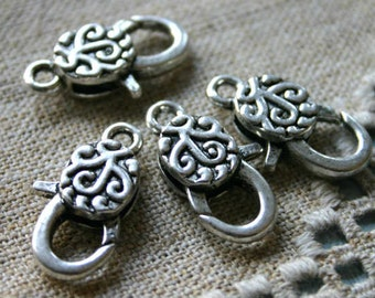 4pcs Clasp Lobster Claw Antiqued Silver Finished Pewter 25x13mm Swirl Design