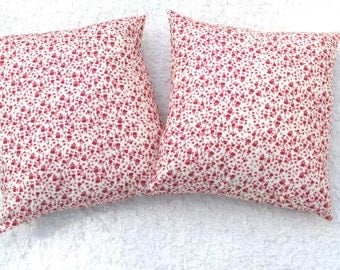 Vintage Red Roses Decorative Pillow 18inx18in