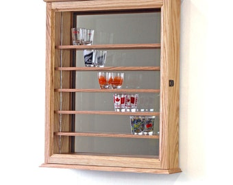 Shot Glass Display Case Mirror Wall Cabinet
