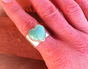Turquoise and Silver Heart Ring