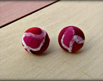 Button Earrings ,Silk Fabric in shades of  Pink and Red