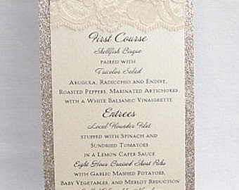 Lace Wedding Menu Reception Card Menus Tea
