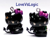 4 Baby Demon Cat Plastic Charms. Black Tone