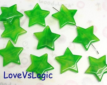 8 Star with Swirl Golden Dust Acrylic Charms.Green Tone