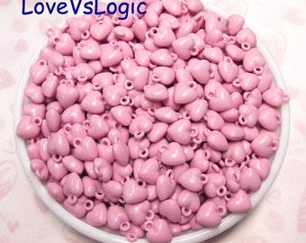 Wholesale. 480 Petite Heart Acrylic Charms. Dark Pink