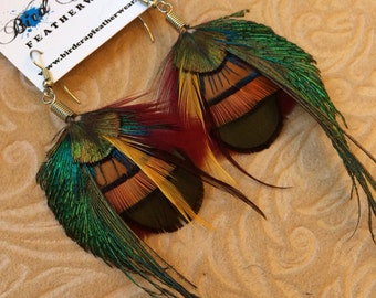 Peacock Small Feather Earrings