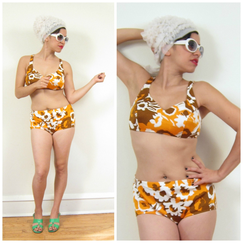 Vintage 1960s Bikini 60s Swimsuit In Orange By Basyaberkman