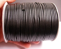 80 meter Black Polyester waxed cord - 2mm - high quality - 80 meter - 262 foot - Black - full roll - PECL1