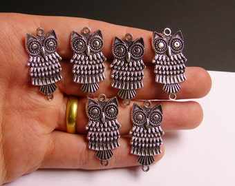 Owl charms - 6 pcs - hypoallergenic - antique silver color owls -  ASA4