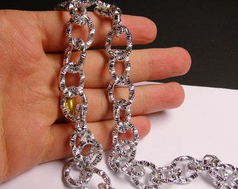 Silver chain  - lead free nickel free won't tarnish - 1 meter-3.3 feet - made from aluminum  - etched cable chain -  NTAC30