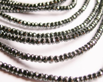 Hematite - 2x3mm micro faceted rondelle  beads - full strand -200 beads - A quality - CHG3