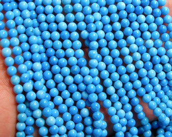 Howlite turquoise - 3.2mm round beads -1 full strand - 124 beads - Aa quality