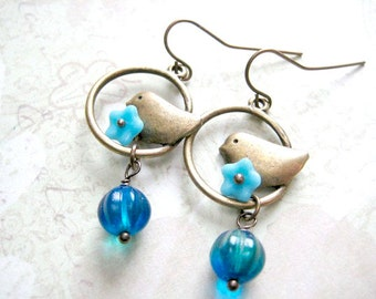 Birds Dangle Earrings, Animal Jewelry