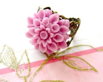 Flower Rings - Light Purple Chrysanthemum Adjustable Flower Ring