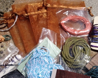DESTASH, TRIMS, RIBBONS, Cords, Vintage ribbons, hand dyed ribbons and silk cords - large lot of great finds