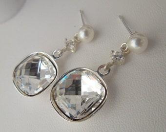 Ivory swarovski Bridal Earrings Rhinestone Wedding Earrings Chandeliers Earrings swarovski pearl swarovski crystal teardrop earrings LISA