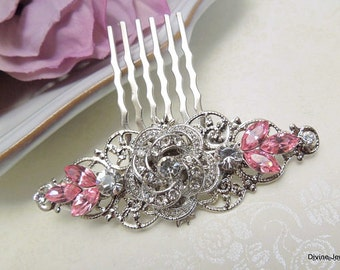 Bridal Rhinestone Hair Comb, Wedding Rhinestone Hair Comb, Rose Rhinestone Hair Comb, crystal hair comb, Pink Rhinestone Hair Comb, ROSELANI