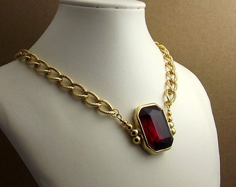 Red Glass Cabochon Necklace, Refashioned, Thick Gold Chain