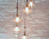 Cascading 5 Clear Bottle Upcycled Recycled Glass Chandelier with Chevron Cord and Custom Canopy