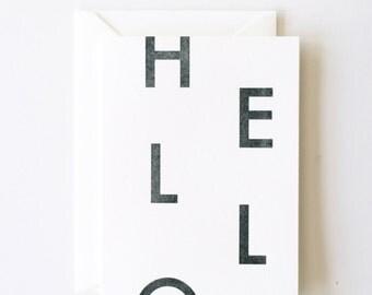 Hello- Letterpress Printed Greeting Card