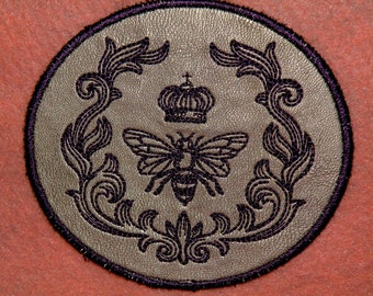 Queen Bee on Cowhide Leather Iron on Patch