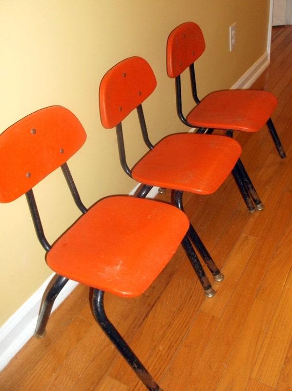 Vintage set of 3 metal and plastic orange children 39 s for Orange kids chair