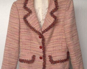 SALE  Boucle Jacket with Glass Button Closure