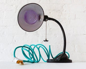 Black Vintage Industrial Gooseneck Lamp With Hanging Bat - Antique Cast Iron Table Light - Aqua Cloth Color Cord - Ornate Glass Bulb