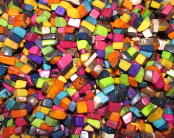 """Mixed Colors Tagua Nut Beads, Big Chip Beads, 22"""" Strand, Organic Beads, Natural Beads, Vegetable Ivory Beads, EcoBeads"""
