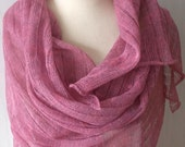 Knit Linen Scarf Linen Shawl  Natural Summer Wrap in Pink Pale Violet