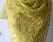 Chartreuse Linen Scarf Lace Shawl Knitted Natural Summer Wrap for Women
