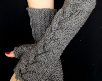 Fingerless Gloves Grey Merino  Wrist Warmers Cabled Extra Long and Soft