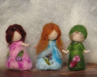 Waldorf inspired needle felted very little fairies