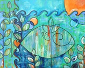 Huge Fish Art Water Beach Blue Ocean painting Douthit FREE SHIP