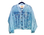 Vintage 90's Denim Jean Jacket with Heavy Denim Thread Accents on Stripes from Pockets by Liz Claiborne