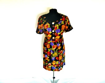Vintage 90's Floral Grunge Goddess with Gathered Waist and Tie-Back by Dressing Clio® Size Large