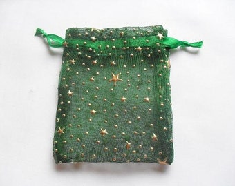 100 Dark Green Organza bags with Stars / favor bags 3 x 4 inch jewelry supplies wedding christmas