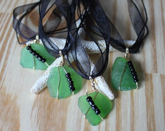 Seaglass Necklace Beach Glass Wedding Jewelry Bridal Jewelry Bridesmaid Party Sea Glass Green