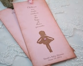 Ballerina Bookmarks Baby Shower Favors Personalized Pink You Choose Ribbon Color Set of 10
